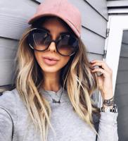 "XXL OVERSIZED ""Myrtille"" Women Sunglasses SQUARE Gold Metal Edges Shadz GAFAS"