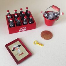 Lot of Miniature Dollhouse COCA COLA item. Case of cola, opener, logo tray, pail