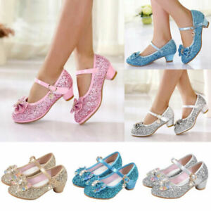 Girl Princess Elsa Dress Party Sandals Anna Cosplay Evening Sequin Glitter Shoes