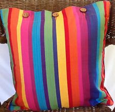 Cushion Cover Multi Striped Linen Cotton Scatter Throw Square Mexican Stripes