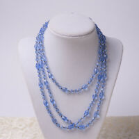 """Art Deco Vintage Blue Faceted Crystal Knotted 52"""" Continuous Necklace"""