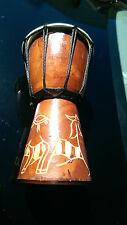 "Med. Mahogany Wood African Goat Skin Djembe Bongo Drum Hand Carved Design 9.5"""