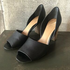FRANCO SARTO 13 Emma Women's Black D'Orsay Open Toe Pumps 4 Inch Block Heel