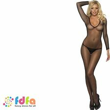 BLACK FISHNET LONG SLEEVED BODY STOCKING ladies womens catsuit hosiery