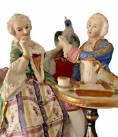 Vintage Bisque Porcelain Colonial Victorian Couple Figurine w/ Parrot Gilt Trim