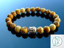 Buddha Picture Jasper Natural Gemstone Bracelet 7-8'' Elasticated Healing Stone