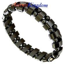 "Accents Kingdom Men's Magnetic Hematite Dual Strand Beaded Fashion Bracelet 8.5"""
