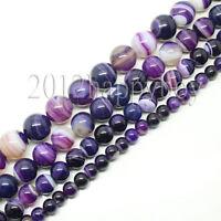 Wholesale 5-40PCS Semi Precious Purple Striped Agate Round Loose Beads 4-12mm