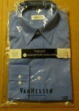 MEN'S VAN HEUSEN LONG SLEEVE DRESS SHIRT - BLUE - NEW IN PACKAGE - LARGE