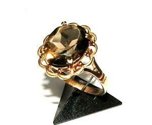 STUNNING VINTAGE 9ct YELLOW GOLD OVAL SMOKY QUARTZ COCKTAIL  RING SIZE M