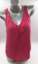 DKNY Sleeveless Top Size Small Petite PS Pink Zipper Neck Shell Blouse Womens