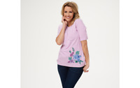 Denim & Co. Striped Round-Neck Top with Embroidery Fuchsia Pink Size 2X A354150