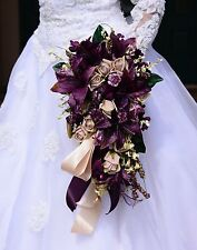 CELTIC BRIDE BOUQUET WEDDING FLOWERS PURPLE LILIES PINK ROSES 24 PIECE