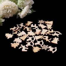 30PCS Wooden Christmas Tree Deer Snowflake Shapes Embellishments Craft Decor