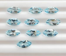 10 PIECES OF 4x2mm MARQUISE-FACET NATURAL AFRICAN SKY-BLUE TOPAZ GEMSTONES