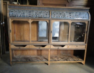 C – Amazing Antique French Oak Bakery with Stained Glass. 3581b