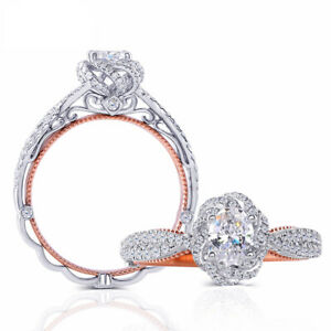 14K White and Rose Gold 0.6CT 4X6mm Oval Moissanite Engagement Ring with Accents