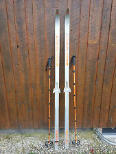 """Very Interesting Vintage Wooden 75"""" Long Skis Binding GREAT SET FOR DECORATION"""