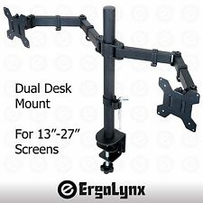 "Double moniteur lcd tv arm desk mount écran d'ordinateur support double support 13"" -27"""