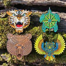 Spirit Animals all 4 pins - third eye bear owl terrapin tiger grateful dead lsd