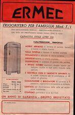 VOLANTINO PUBBLICITARIO - FRIGORIFERO ERMEC - ANNI '50 C6-527