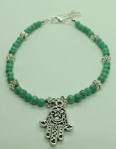 Turquoise Glass Beads Hamsa Hand Charm Anklet Ankle Bracelet
