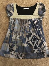 VGUC Anthropologie Weston Wear Blue Grays Lined Floral Blouse M