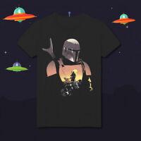 The Mandalorian Silhouette Tatooine Star Wars Boba Fett HD138 Black T-Shirt