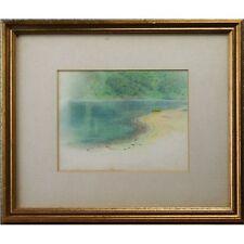 Original Scottish Antique Impressionist Lake Pastel Painting Strahan Buchanan