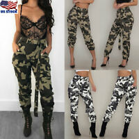Womens Military Army Jeans Camo Cargo Trousers Casual Combat Camouflage Pants US