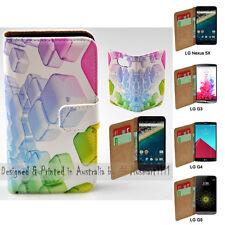 For LG Series - 3D Colour Cubes Theme Print Wallet Mobile Phone Case Cover