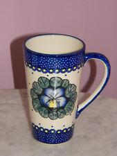 Genuine Hand Made UNIKAT Polish Pottery 12 oz. Bistro Mug! Mila Pattern!