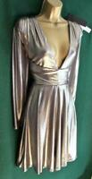 New HALSTON Heritage Uk14 16 Gunmetal Silver Fit&Flare Drape Mini Cocktail Dress