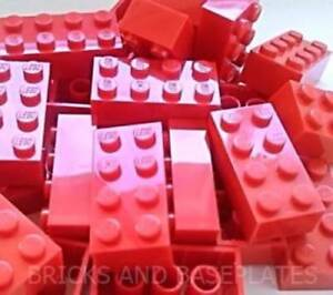 LEGO BRICKS 100 x  RED 2x4 Pin - From Brand New Sets Sent in a Clear Sealed Bag