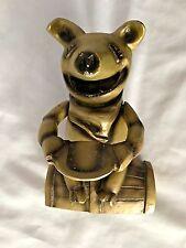 "Goldtone LOGAN 7 3/4"" Mechanical Metal Pig Figurine Piggy Bank"