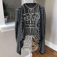 Talbots Ladies black striped asymmetrical knit cardigan size large EUC
