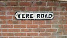 Antique Victorian Cast Iron Road Street Sign Vere Road