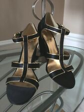 """COACH Trixy Black Satin Gold Leather Wedge Sandals 3.5"""" Heels Size 8M Worn Once!"""