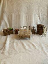 New ListingVintage Miniature Dollhouse Bedroom Furniture 1:12 Brass Bed Wood Dressers 6 Pcs