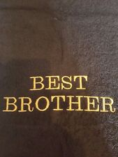 Embroidered personalised towel with (BEST BROTHER ) in black a great gift idea