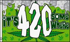 It's 4:20 Somewhere 3x5 Polyester Party Marijuana Leaf Weed Pot Flag