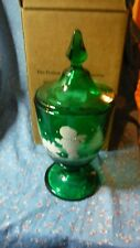 """Fenton Green HP LE 240/500 Candy Box  Winter Scene Outdoors About 9 3/4"""" High"""