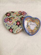 Brighton Tin Jewelry Necklace Pendant Metal Case Heart Shape Lot Of 2