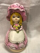 Vintage Sankyo Music Box Girl With Bonnet Made In Japan