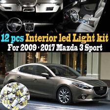 12Pc Super White Car Interior LED Light Kit Package for 2009-2017 Mazda 3 Sport