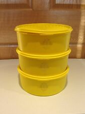 TUPPERWARE vintage 3 pc set large servalier snack stacking yellow canisters