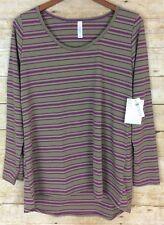 NWT LuLaRoe XL Lynnae Purple Green Stripe