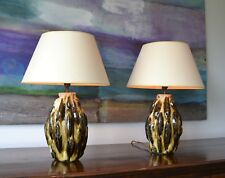 A Pair of Vaughan Lighting Ceramic Brass Hall Bedroom Kitchen Side Table Lamps