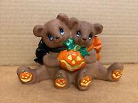 Vintage Ceramic Teddy Bears Bear Brown Pumpkin Halloween Decoration Figurine