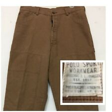 Vtg Polo Sport Workwear Canvas Jeans Knee Padding Multiple Pockets Sz 36 X 34